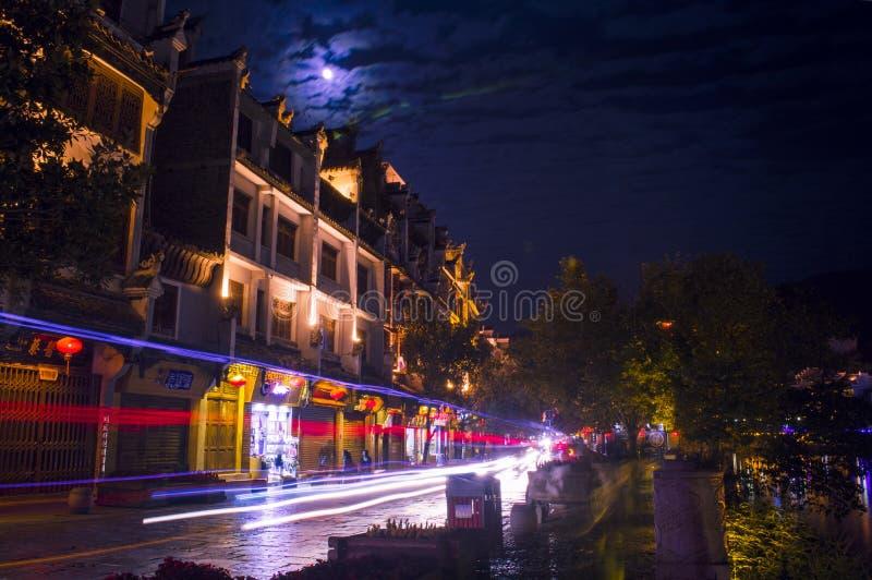 Vecchia scena 17 di notte della città di Zhenyuan fotografia stock