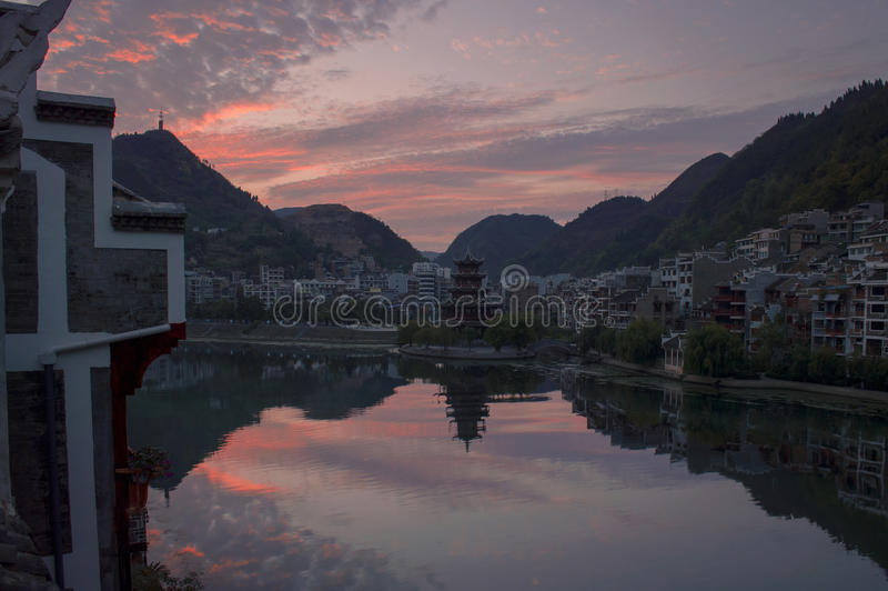 Vecchia scena 9 di tramonto della città di Zhenyuan fotografia stock libera da diritti