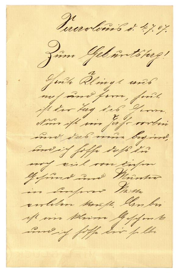 Vecchia scrittura a mano fotografia stock libera da diritti