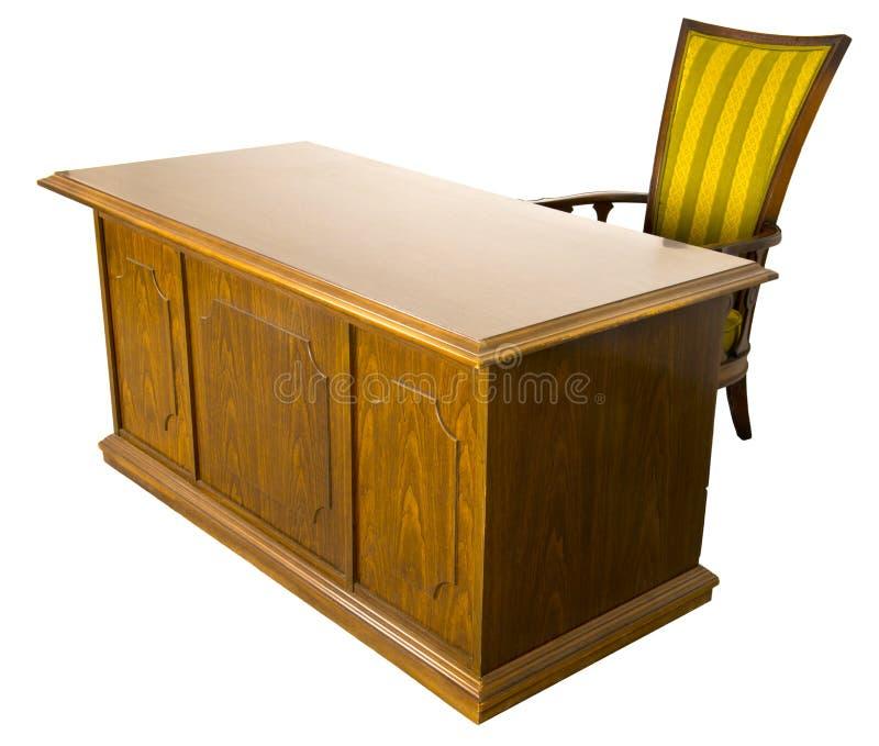 Vecchia scrivania e presidenza di affari isolate immagini stock libere da diritti