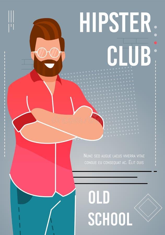 Vecchia scuola piana di pubblicità del manifesto del club dei pantaloni a vita bassa royalty illustrazione gratis
