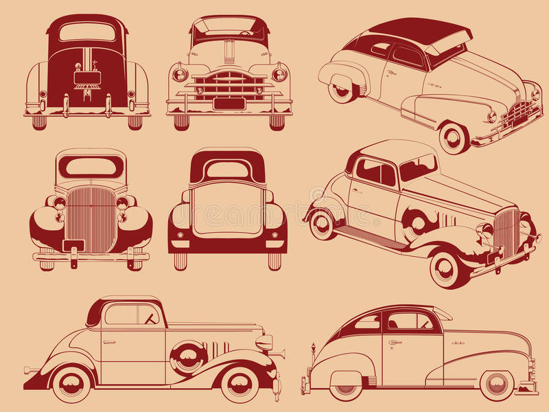 Vecchia siluetta dell'automobile in parecchie posizioni illustrazione di stock