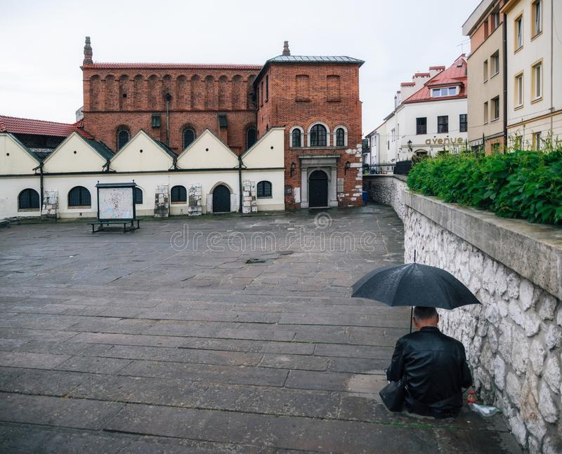Vecchia sinagoga a Cracovia, Polonia immagine stock