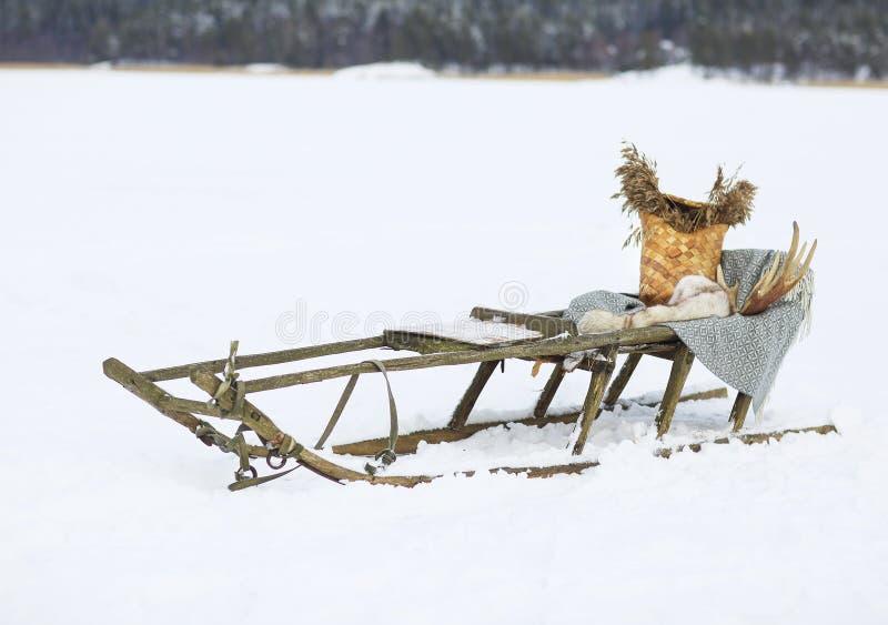 Vecchia slitta tirata da cani in tundra immagini stock
