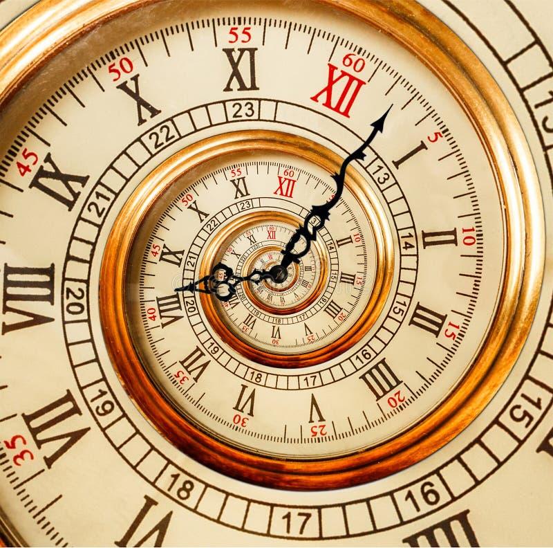 Vecchia spirale antica di frattale dell'estratto dell'orologio Orologio a insolita dell'orologio fotografie stock