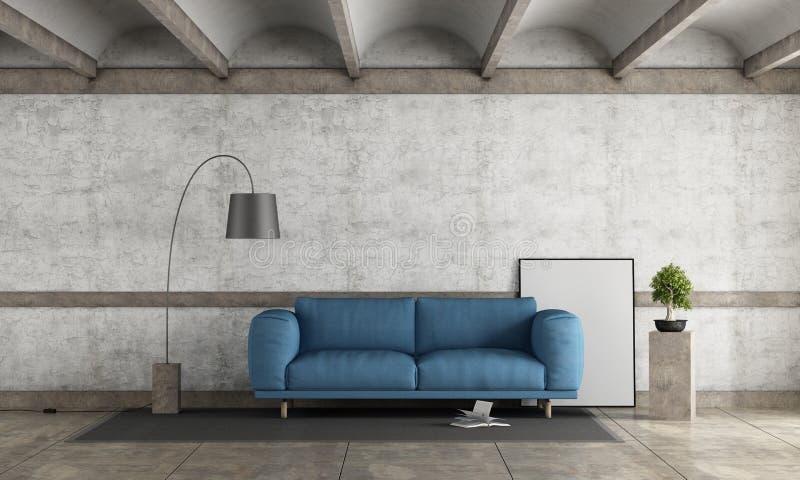 Vecchia stanza con il sofà blu royalty illustrazione gratis