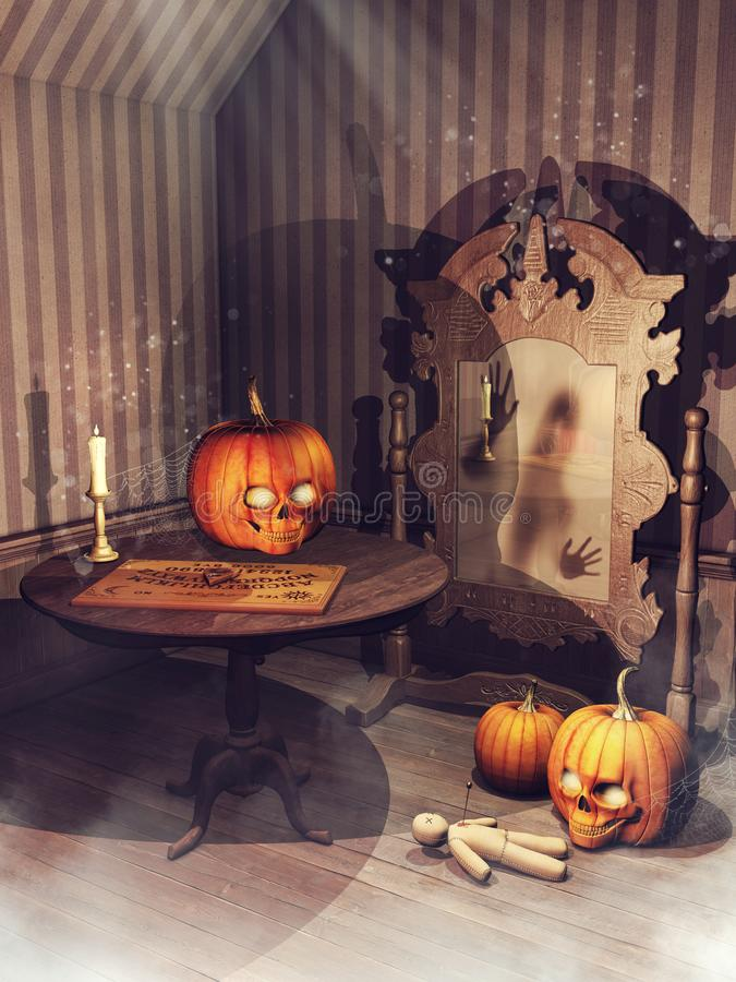 Vecchia stanza con le zucche di Halloween e gli oggetti magici royalty illustrazione gratis