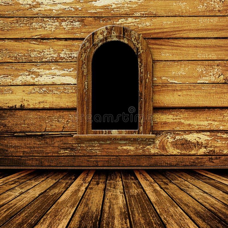 Vecchia stanza, interiore del grunge con la finestra fotografie stock libere da diritti