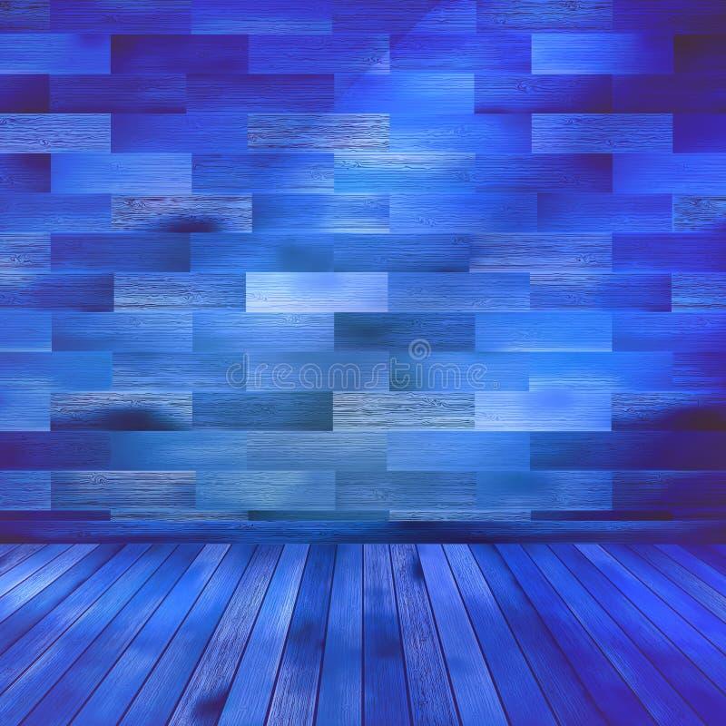 Vecchia stanza interna di legno blu. ENV 10 illustrazione vettoriale