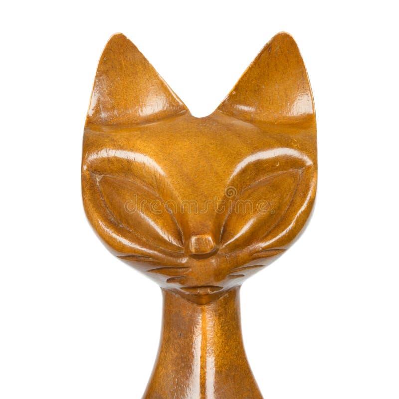 Vecchia statua di legno di un gatto immagini stock libere da diritti