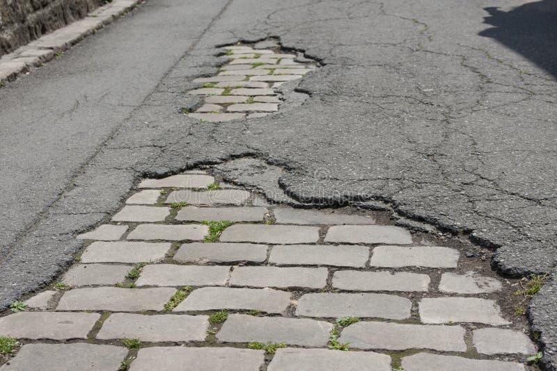 Vecchia strada del cobblestone fotografie stock libere da diritti