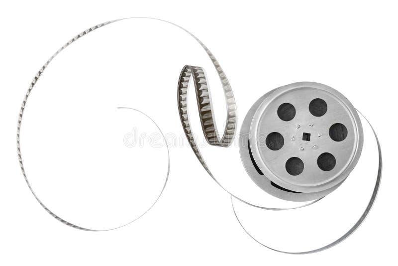 Vecchia striscia di pellicola sulla bobina isolata su fondo bianco Vista superiore immagine stock libera da diritti
