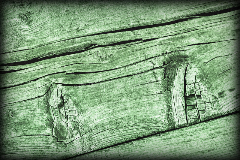 Vecchia struttura annodata incrinata stagionata di lerciume di Kelly Green Pine Wood Floorboards Vignetted immagine stock libera da diritti