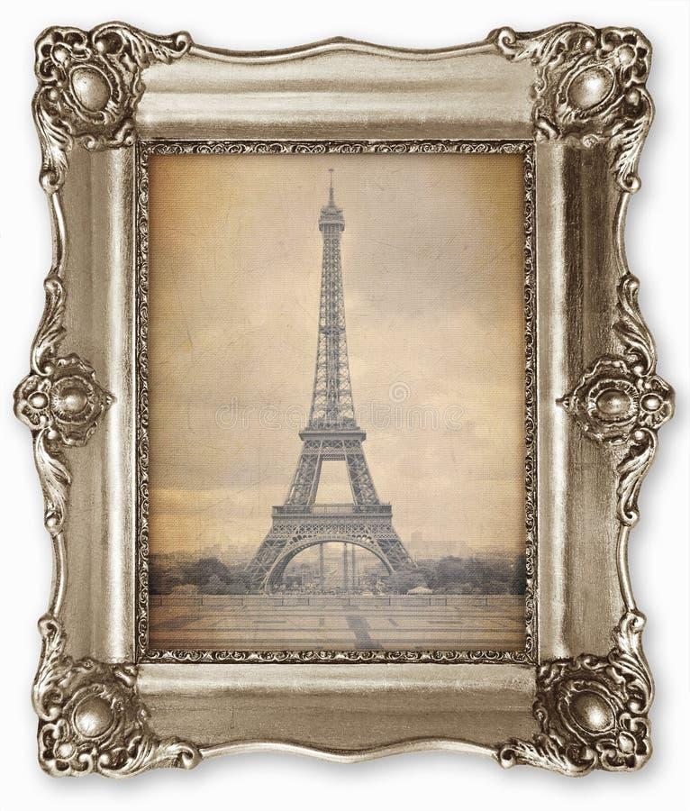 Vecchia struttura d'annata con la foto stilizzata della torre Eiffel su tela fotografia stock libera da diritti