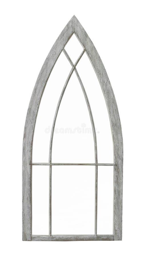 Vecchia struttura della finestra incurvata isolata fotografia stock libera da diritti