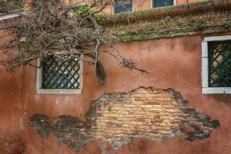 Vecchia struttura vuota del muro di mattoni immagini stock libere da diritti