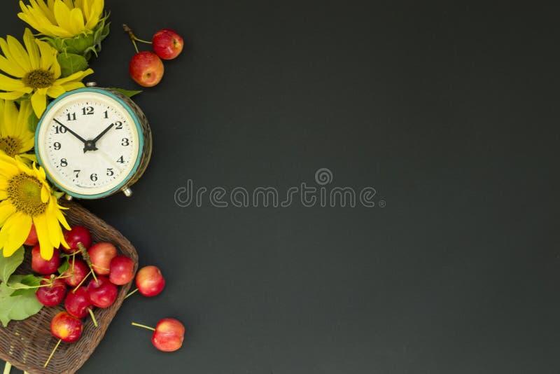 Vecchia sveglia vicino ad un mazzo dei girasoli e dei fiori gialli e mele rosse in un canestro su un fondo nero Giorno del ` s de fotografie stock