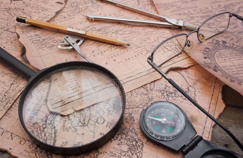 Vecchia tavola della mappa di storia antica fotografia stock