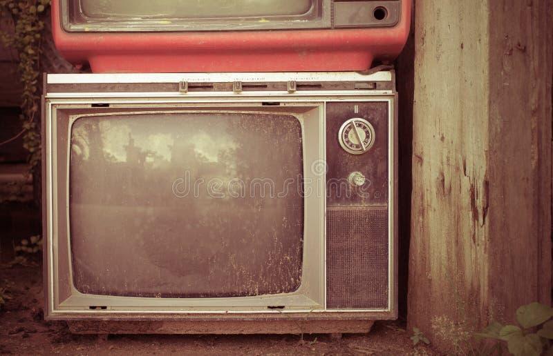 Vecchia televisione di retro stile dal 1950, 1960 e gli anni 70 Foto filtrata stile d'annata del instagram di tono fotografia stock libera da diritti