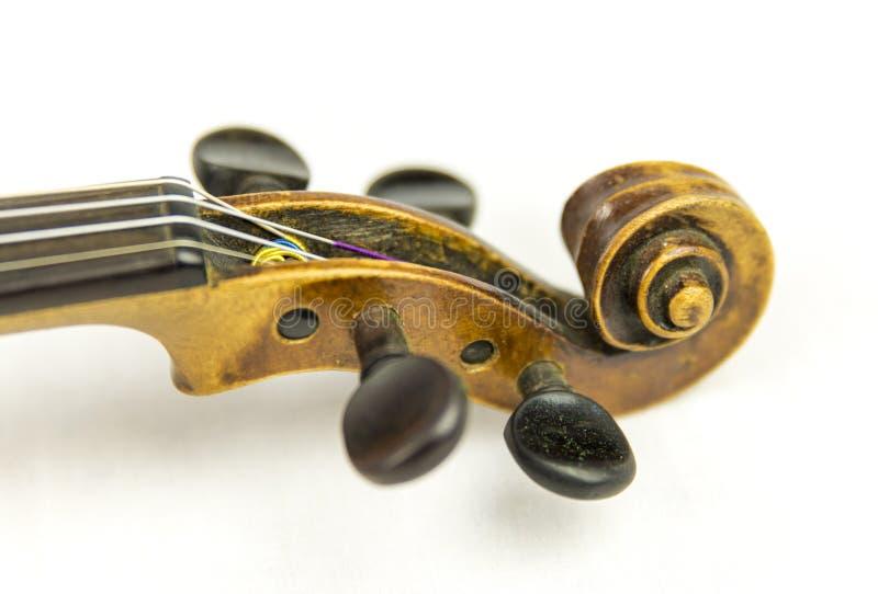 Vecchia testa del violino fotografia stock