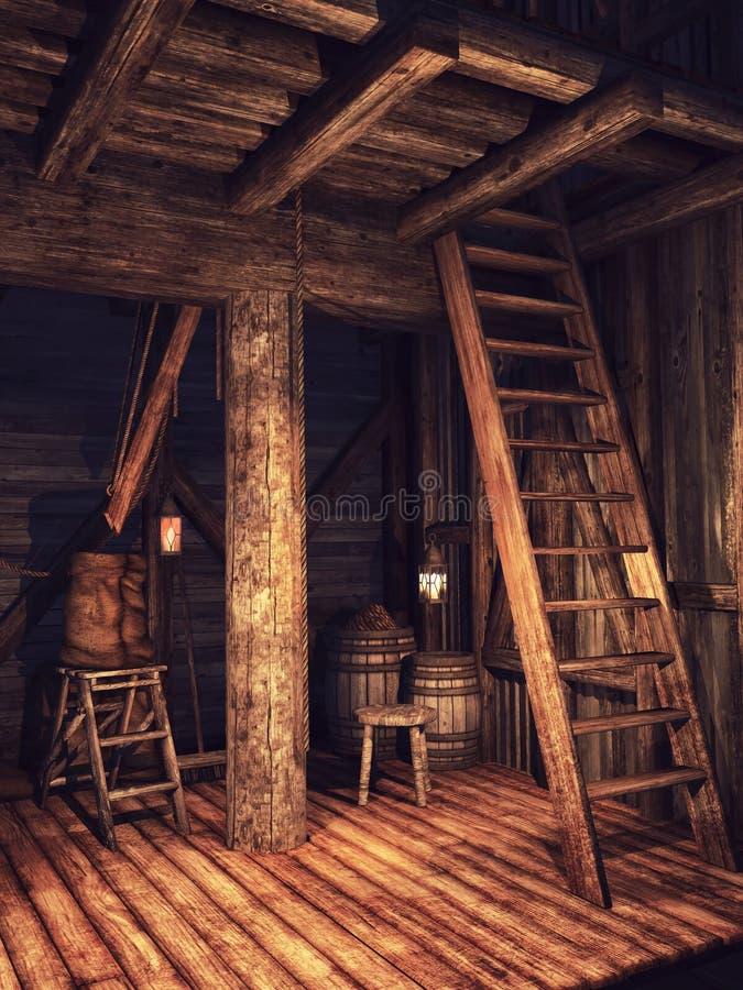 Vecchia tettoia di legno royalty illustrazione gratis