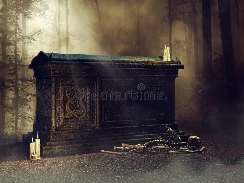 Vecchia tomba con le candele e le ossa illustrazione di stock