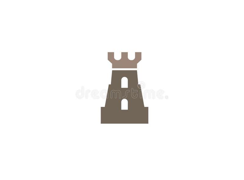Vecchia torre del castello con la grande porta in finestre per l'illustrazione di progettazione di logo illustrazione vettoriale
