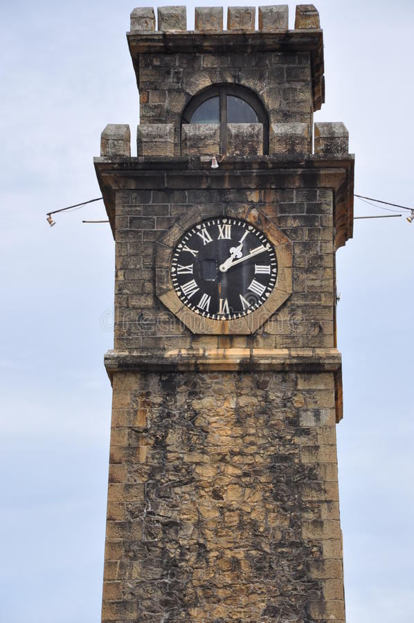 Vecchia torre di orologio alla fortificazione olandese di Galle, Sri Lanka fotografie stock libere da diritti