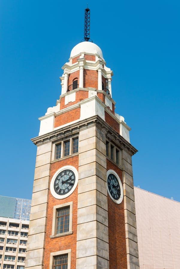 Vecchia torre di orologio, con la sua architettura classica, Hong Kong, 'chi' immagine stock