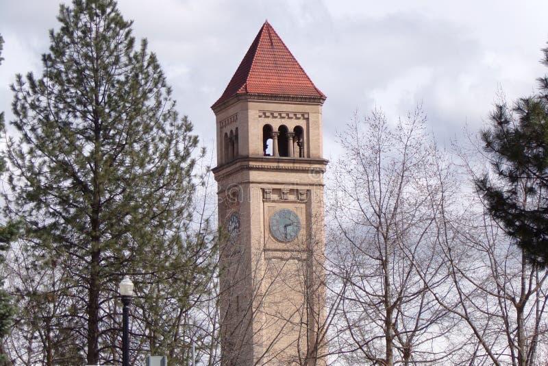 Vecchia torre di orologio a Spokane, Washington fotografia stock libera da diritti