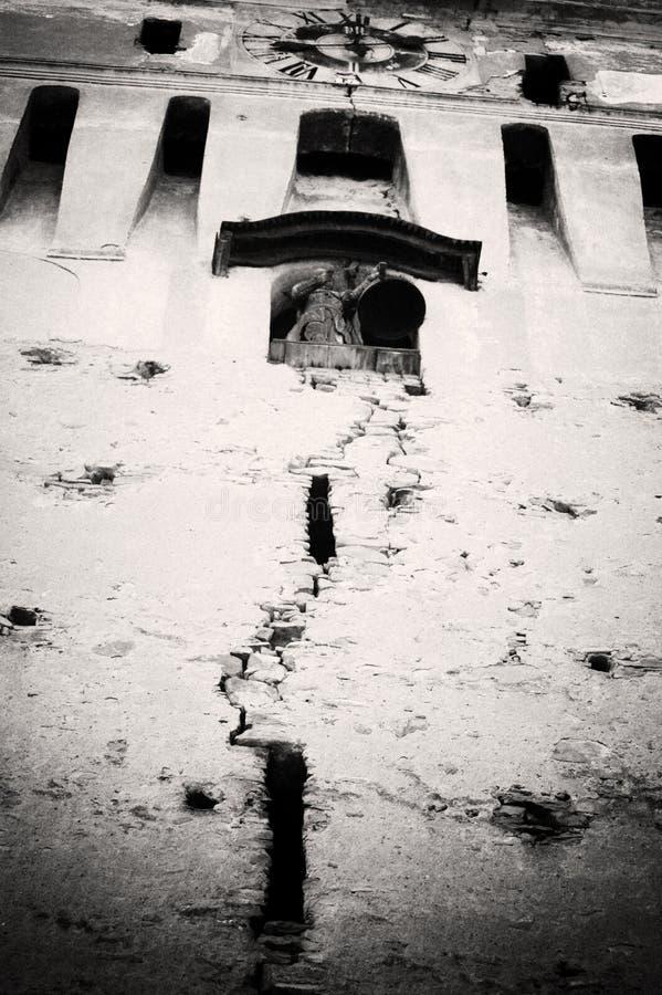 Vecchia torretta di orologio in Saschiz fotografia stock