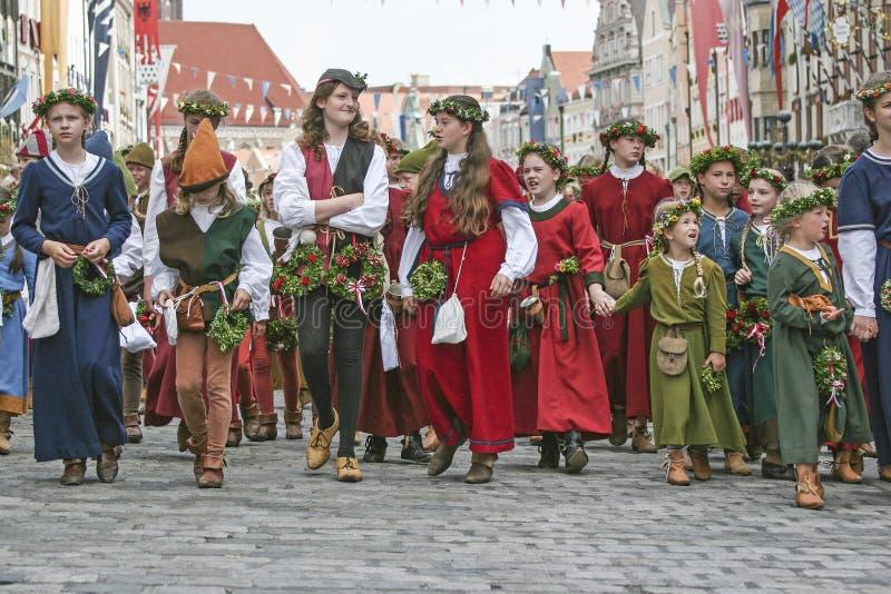 Vecchia tradizione - nozze del ` s di principe in Landshut immagini stock libere da diritti