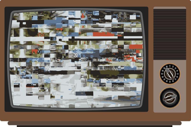 Vecchia TV con il cattivo segnale royalty illustrazione gratis