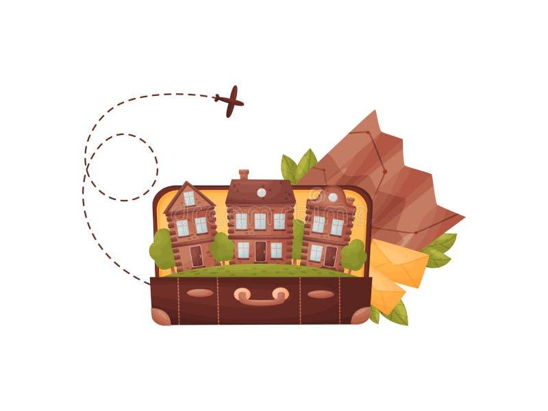 Vecchia valigia aperta con le case dentro Illustrazione di vettore su priorit? bassa bianca illustrazione vettoriale