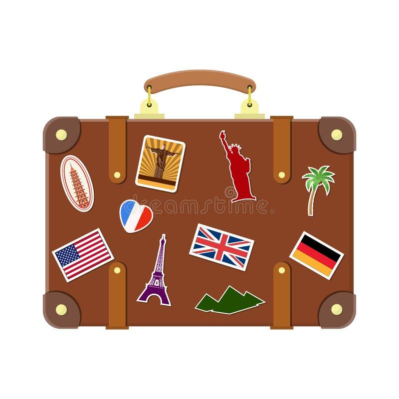 Vecchia valigia d'annata di viaggio illustrazione di stock