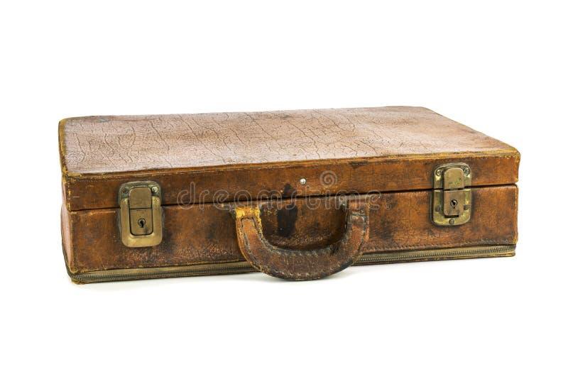Vecchia valigia d'annata isolata su fondo bianco fotografie stock libere da diritti