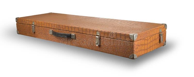 Vecchia valigia dalla pelle del coccodrillo fotografia stock libera da diritti