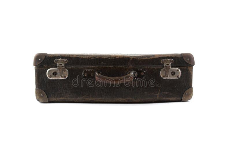 Vecchia valigia marrone per la corsa fotografia stock