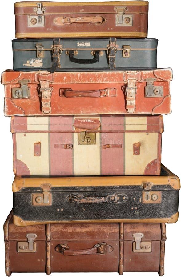 Vecchia Valigia Vintage, Valutazioni, Isolata, Bagaglio fotografia stock libera da diritti