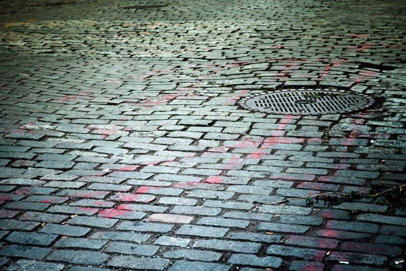 Vecchia via del cobblestone fotografie stock