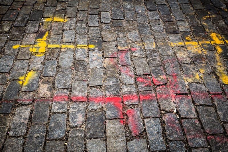 Vecchia via del cobblestone immagini stock libere da diritti