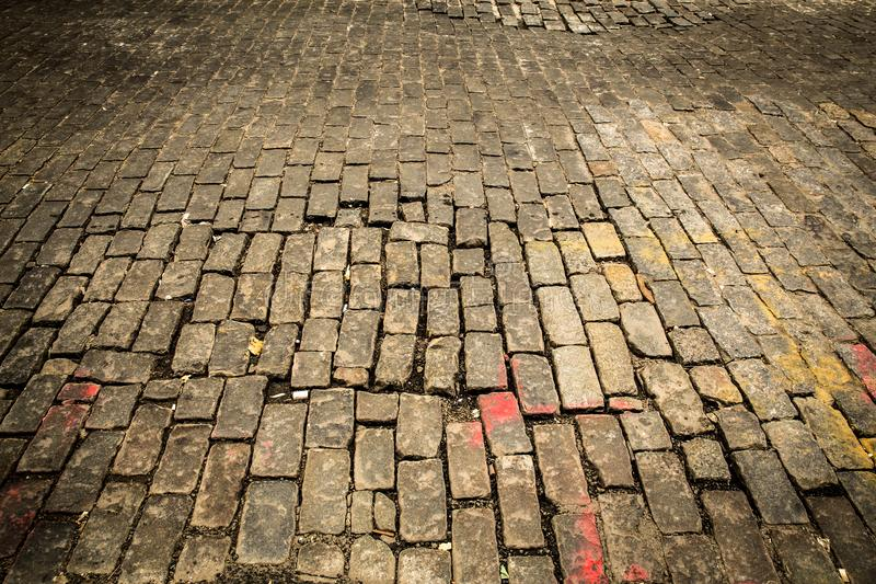 Vecchia via del cobblestone fotografie stock libere da diritti