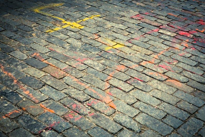 Vecchia via del cobblestone fotografia stock