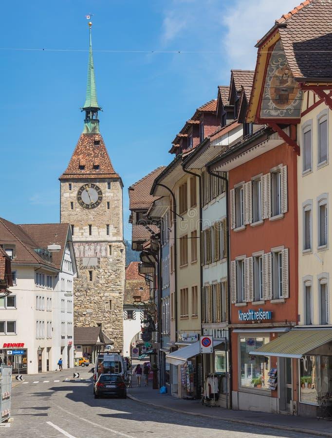 Vecchia via della città a Aarau, Svizzera fotografie stock libere da diritti