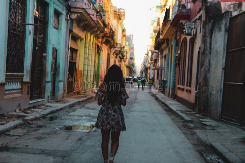 Vecchia via di Avana in Cuba, Caribbeans fotografia stock