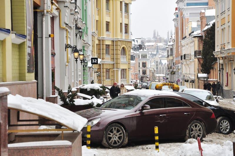 Vecchia via di Kiev, neve immagine stock libera da diritti