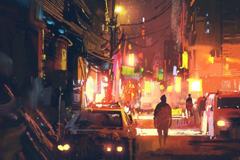 Vecchia via nella città futuristica alla notte con luce variopinta illustrazione vettoriale