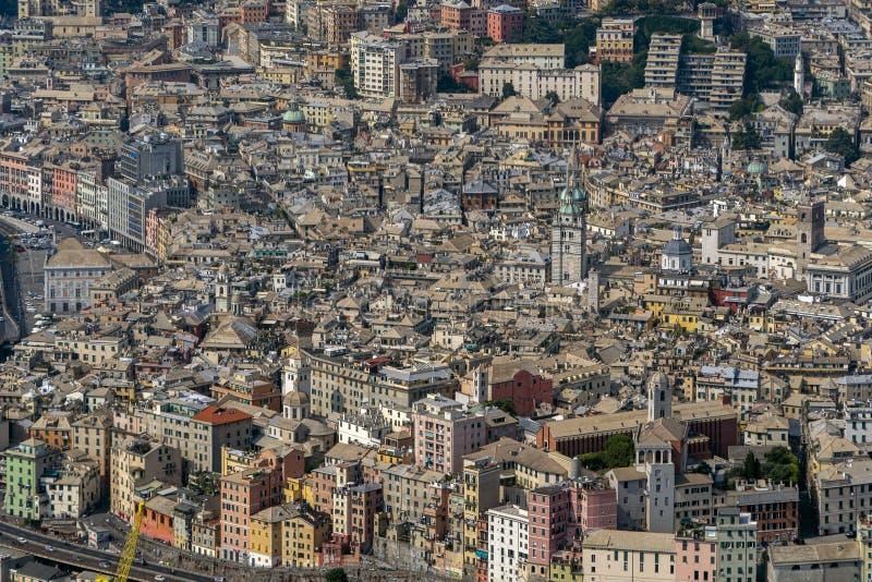 Vecchia vista aerea della città di Genova fotografia stock libera da diritti