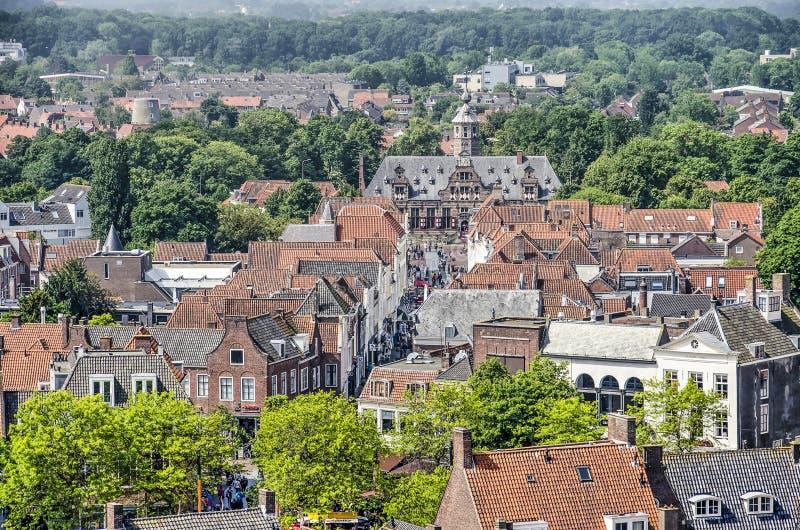 Vecchia vista aerea della citt? di Middelburg fotografia stock