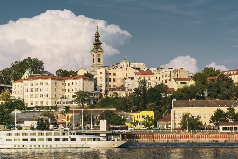 Vecchia vista della città di Belgrado, Serbia 2019 dal fiume Sava immagine stock libera da diritti